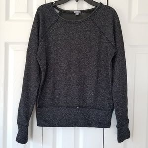 Aerie Shimmery Sweater Sheer Back Black Silver XS